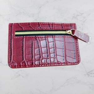 B-Low the Belt Red Croc Card Holder with Zipper